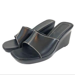 Ralph Lauren Black Wedges Size 10 Open Toe Leather